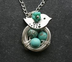 Original Signature Design,Lovely Bird and Nest Turquoise Jasper Eggs sterling silver Necklace. $29.50, via Etsy.