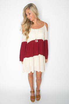 Cream and Maroon Swing Dress – Deep South Pout