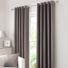Dunelm Stone Solar Blackout Dark Grey Polyester Eyelet Curtains (W 117cm (46'') x Drop 182cm (72''))