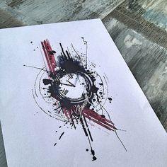 Abstract watercolor trash polka clock tattoo design