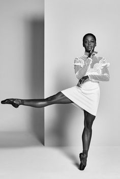 """divalocity: """" """"A She Story"""" Ballet Dancer Michaela DePrince for de Bijenkorf """"I know I can give a woman hope. I find it incredible that I have the power to change the negative way women think about themselves. If I'm not comfortable in my skin, it. Black Dancers, Ballet Dancers, Black Ballerina, Ballerina Drawing, Tutu, Fade Styles, Ballet Photography, White Photography, Dance Poses"""