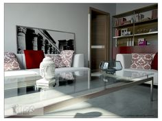 White Sofa Sets With Throw Cushions And Large Glass Table Design In Trendy Living Room