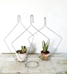 Halterungen für kleine Zimmerpflanzen aus Drahtkleiderbügel selber machen