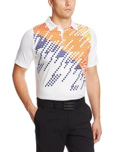 Made from 92% polyester and 8% spandex this mens NA duo swing digi graphic golf polo shirt by Puma uses CooCELL mesh at back with natural anti-odour treatment