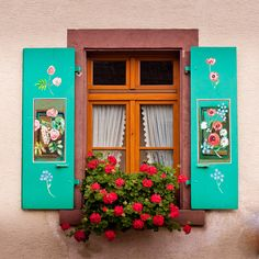 pretty painted shutters and overflowing window box Window Box Flowers, Window Boxes, Flower Boxes, Garden Windows, Windows And Doors, Cottage Windows, Window Shutters, Window View, Through The Window