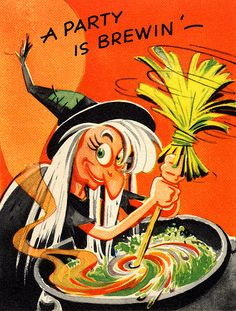 Vintage kitschy witchy Halloween