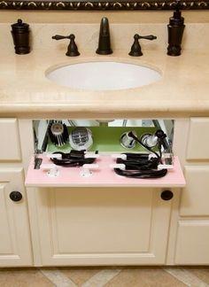 Hair tools storage under wasted bathroom sink space!