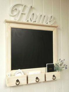 Large Shabby Chic Rustic Wall Hung Blackboard Chalkboard Notice Board Storage | eBay