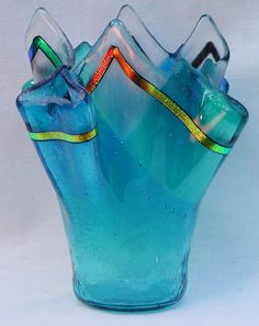 slumped glass Dichroic vase stunning beauty