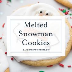 Super easy and fun to decorate, Melted Snowman Cookies are great for a children'. - - Super easy and fun to decorate, Melted Snowman Cookies are great for a children's project on a cold winter day. The cutest Christmas cookies ever! Cute Christmas Cookies, Christmas Sweets, Christmas Goodies, Holiday Desserts, Holiday Cookies, Christmas Candy, Holiday Baking, Christmas Baking, Holiday Treats