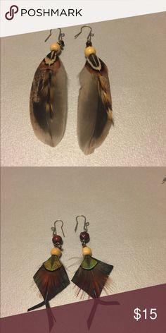 2 pair unique feather earrings purchased in Maine 2 pair unique feather earrings purchased in Maine Jewelry Earrings