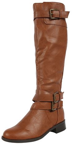 Cognac Faux Leather Buckle Knee High Riding Flat Boots Doric ** Click on the image for additional details.