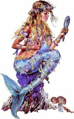 Lovely Mermaid, nice fantasy art here Real Mermaids, Fantasy Mermaids, Mermaids And Mermen, Images Of Mermaids, Magical Creatures, Fantasy Creatures, Sea Creatures, Mermaid Artwork, Mermaid Drawings
