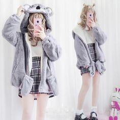 Gray cartoon hoodie coat SE11044