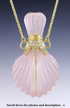 Remarkable 18K Gold Diamond Rose Quartz Perfume Bottle | eBay
