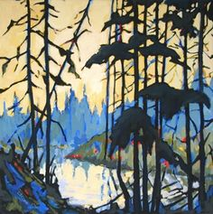 Daily Painting, Metolius River, contemporary landscape, painting by artist Carolee Clark Contemporary Landscape, Contemporary Paintings, Abstract Landscape, Landscape Paintings, Abstract Trees, Canadian Painters, Canadian Artists, Group Of Seven Paintings, Tom Thomson