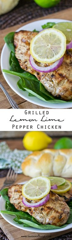 Grilled Lemon-Lime Pepper Chicken >> by Tastes of Lizzy T's
