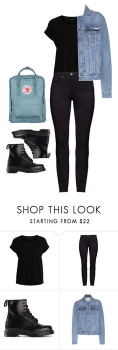 """Black and blue"" by barbara-borini on Polyvore featuring moda, Vila Milano, DNY, Dr. Martens, Calvin Klein Jeans, Fjällräven y plus size clothing"