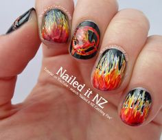 Nailed It NZ: Catching Fire Nail Art, Quotes & Tutorial http://www.naileditnz.com/2013/11/catching-fire-nail-art-quotes-tutorial.html