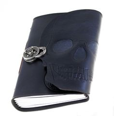 Hand carved and tooled dark grey skull leather bound by skrocki