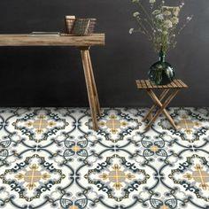 Vinyl Floor Tile Sticker - European Medici in Charcoal & Ochre – Quadrostyle