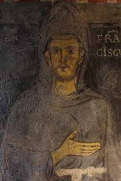 St Francis of Assisi. Fresco at the Sacro Specco, Subiaco, Italy.