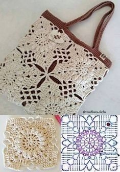 Bag Crochet, Crochet Handbags, Crochet Purses, Crochet Motif, Crochet Clothes, Crochet Flowers, Crochet Stitches, Free Crochet, Diy Flowers