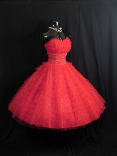Vintage 1950's 50s Bombshell STRAPLESS RED Metallic Tulle  Party Prom Wedding DRESS Gown. $349.99, via Etsy.