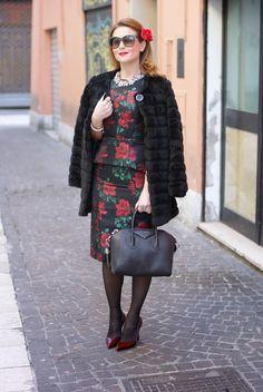 Asos rose print peplum dress and black faux fur coat