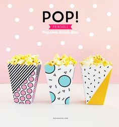 Pop Printable Popcorn Snack Box for Popcorn Party or Movie Night | DESIGN IS YAY!