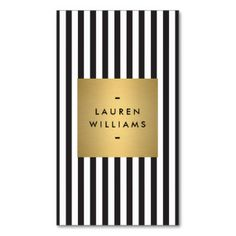 Luxe Bold Black and White Stripes with Gold Box Double-Sided Standard Business Cards (Pack Of 100)