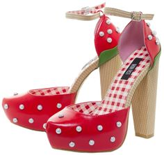 IRON FIST STRAWBERRY LIPS PLATFORMS - Sweet, Sweet, Love! These Strawberry Lip platforms will be screaming for Strawberry fields forever! They feature a tall wicker looking chunky heel and ankle strap. The bright red strawberry design has pearl stud appliques. They will sweeten up any picnic or outing!
