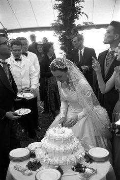 Boston Area 1957 Wedding Reception Bride And Groom Cutting The Cake
