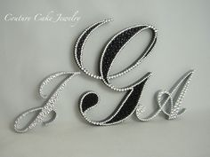 CLASSY Black and Crystal Monogram Cake Topper!