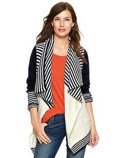 Drapey striped cable cardigan | Gap $69.95