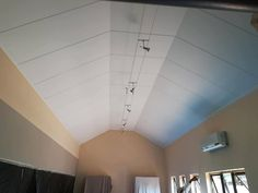 Thermal Insulation that doubles as a ceiling. IsoBoard ceiling in a beveled edge finish. Exposed Ceilings, Thermal Insulation, Ceiling Design, New Construction, Ceiling Lights, Roof Design, Outdoor Ceiling Lights, Ceiling Fixtures, Ceiling Lighting