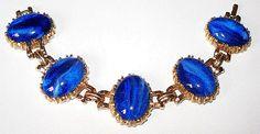 Blue Bracelet 5 Link Style Gold Metal by BrightgemsTreasures