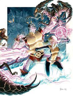 Colossus and Magik battle the Brood by Daniel Govar #DanielGovar #Brood #Colossus #PeterRasputin #PiotrRasputin #XMen #Excalibur #Magik #IllyanaRasputina #IllyanaRasputin #Darkchylde
