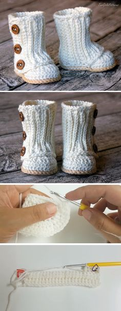 Baby Knitting Patterns Slippers Today we are going to learn to crochet a beautiful baby wrap boot. The tutorial … Crochet Baby Boots, Crochet Shoes, Crochet Slippers, Knit Crochet, Booties Crochet, Learn To Crochet, Crochet For Kids, Baby Knitting Patterns, Crochet Patterns