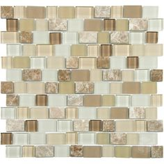 Florida Crema Series- Mixed Color Glass and Stone Blend Mosaic Tile #glass_mosaic_tile #stone_blend_mosaic_tile