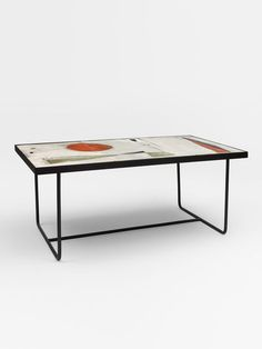 André Borderie and Pierre & Véra Székely; Glazed Ceramic Tile and Enameled Metal Coffee Table, 1950s.
