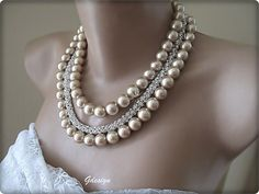 Wedding  Caramel Latte  Glass Pearl Necklace by galladesign