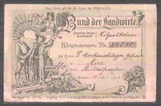 Mitgliedskarte Bund der Landwirte, Aue 1912, Inh.: Merkenschlager, Bauern avec Bienenkorb & landwirtschaftlichem Gerät