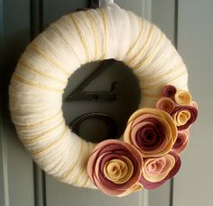 Yarn Wreath Felt Handmade Door Decoration  Berries & by ItzFitz