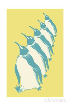 Penguins Walking in Line Poster by Pop Ink - CSA Images at AllPosters.com