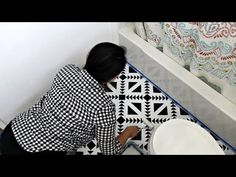 DIY Video Tutorial - From sleek city lofts to rustic farmhouses, black and white rooms will always be in style, especially for bathroom makeovers. Here's an alternative if you don't have the budget to tear out bathroom flooring for new black and white tiles: You can paint directly over your floor with Tile Stencils!