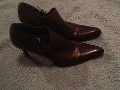 Ralph Lauren Brown Leather Ankle Boot Heels Sz 6.5 Cute!!