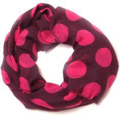 Ananda Design Polka Dots magenta/plum ($130) ❤ liked on Polyvore featuring accessories, scarves, polka dot scarves and gauze scarves