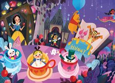 Mural for Disney Tokyo Celebration Hotel by Joey Chou - Closeup # 1 Disney Pixar, Walt Disney, Disney Fan Art, Disney Amor, Disney E Dreamworks, Disney Artwork, Disney Drawings, Disney Animation, Disney Magic