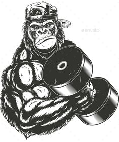 Gorilla Athlete Vector graphics Install any size without loss of quality.ZIP arc… Gorilla Athlete Vector graphics Install any size without loss of quality. Vector Graphics, Vector Art, Vector Design, Design Design, Design Elements, Animal Drawings, Art Drawings, Fitness Tattoo, Monkey Illustration